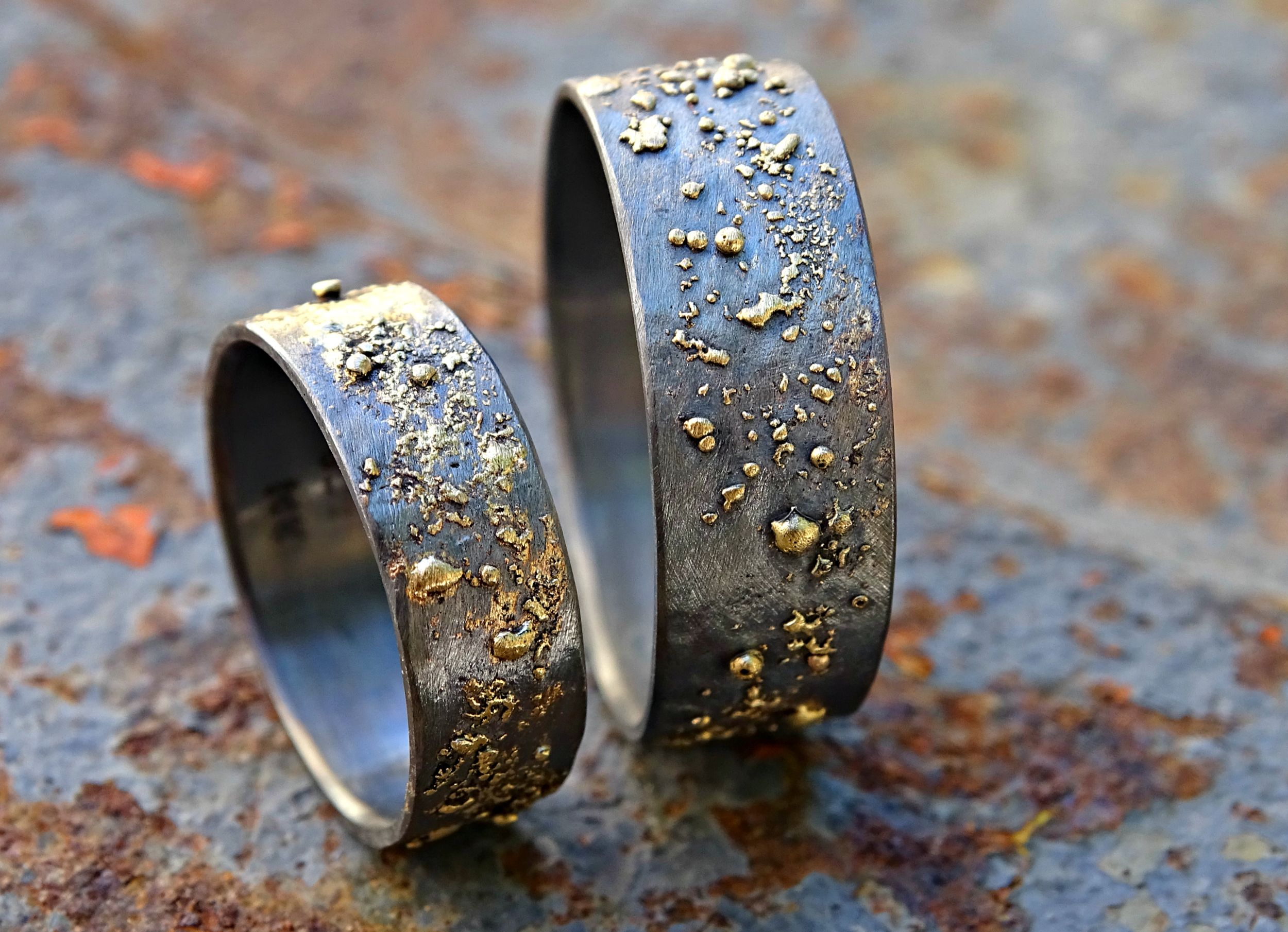 custom made gold and silver wedding bands unique wedding rings matching set his and hers