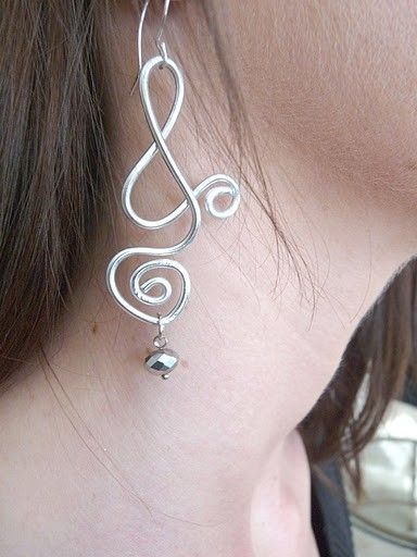 Hand Made Unusual Long Silver Wire Earrings by Dossey