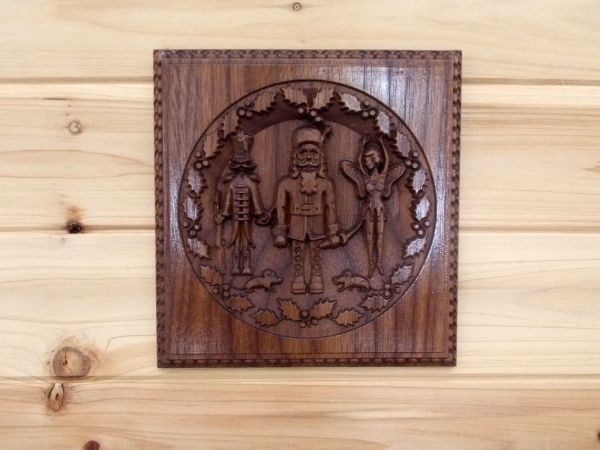 Hand Crafted Wooden Nutcracker Wall Motif 3d Relief Wood Carving Sculpture