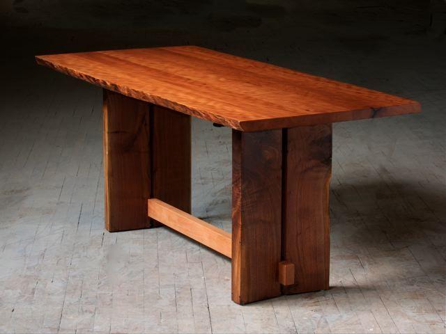 Custom Made Adjustable Height Live Edge Slab Desk by J