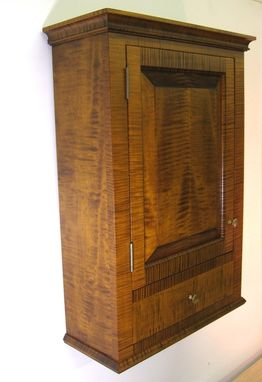 Hand Crafted Tiger Maple Spice Cabinet Wall Cupboard by