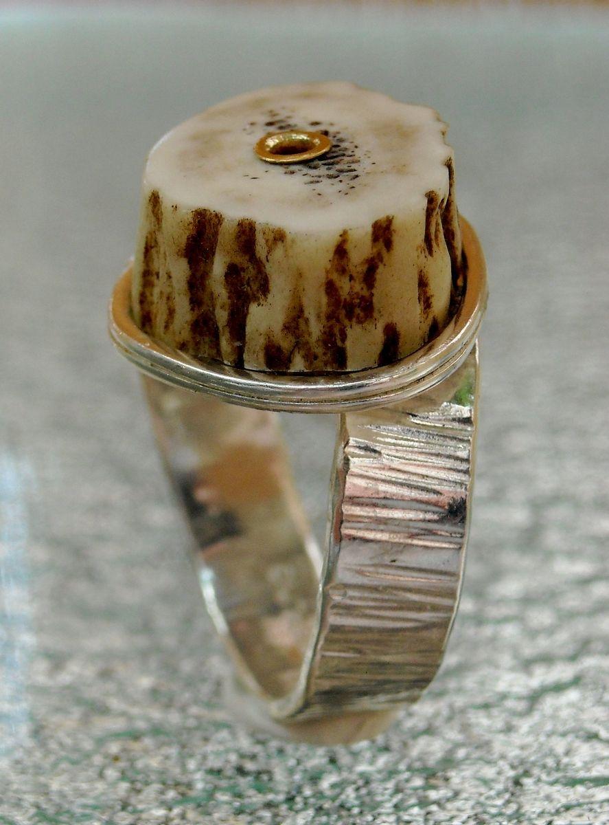 Custom Deer Antler Riveted Sterling Silver Rings By Betoj