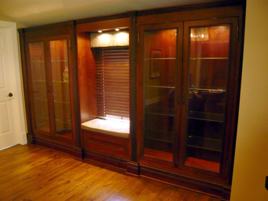 Custom BuiltIn Cherry Display Cabinets by Two Rivers