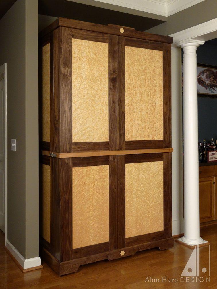 Hand Crafted Custom Walnut And Birdseye Maple Liquor Cabinet Bar by Alan Harp Design