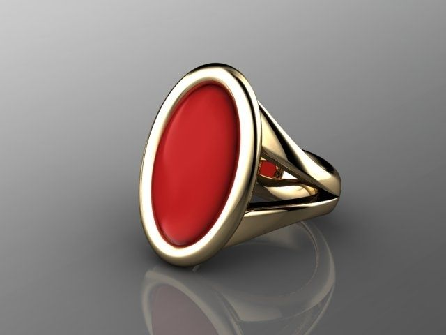 Custom Elegant Red Coral Ring In 18k Yellow Gold By A Jour