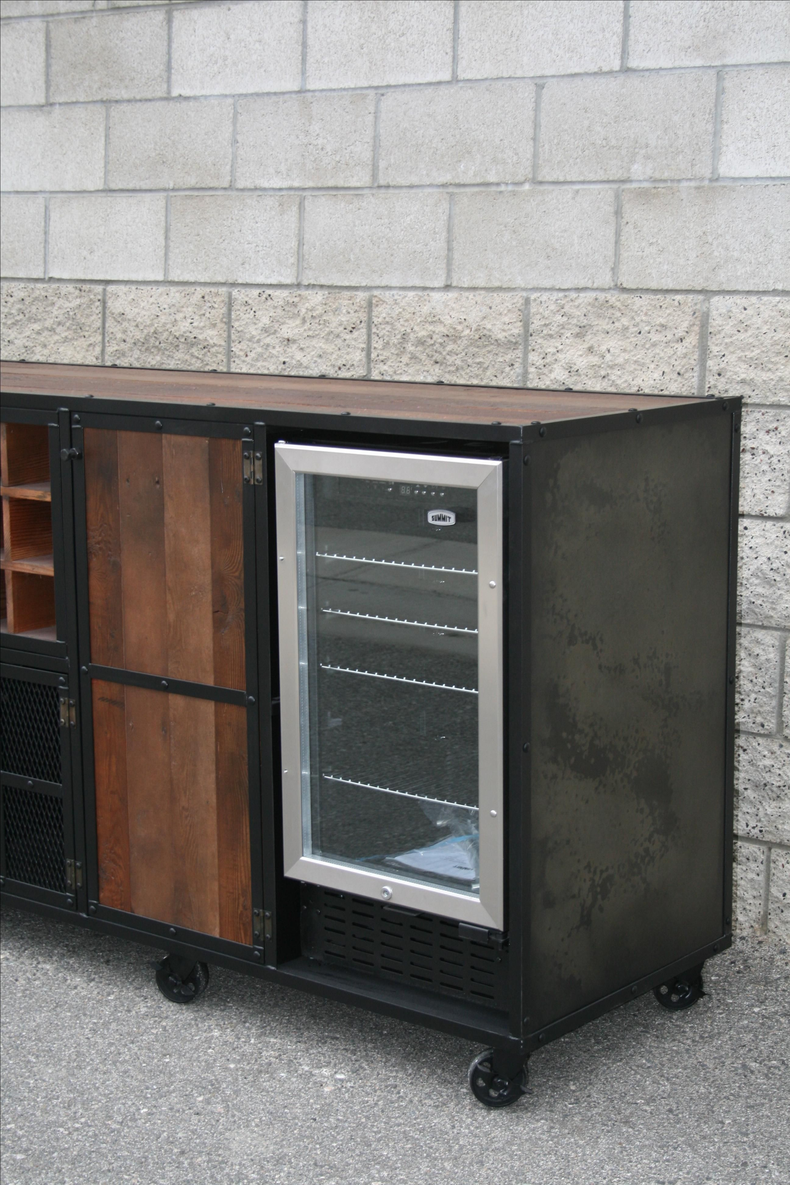 Buy a Handmade Reclaimed Wood Liquor Cabinet Beverage Center Refrigerator Unit Bar Rustic