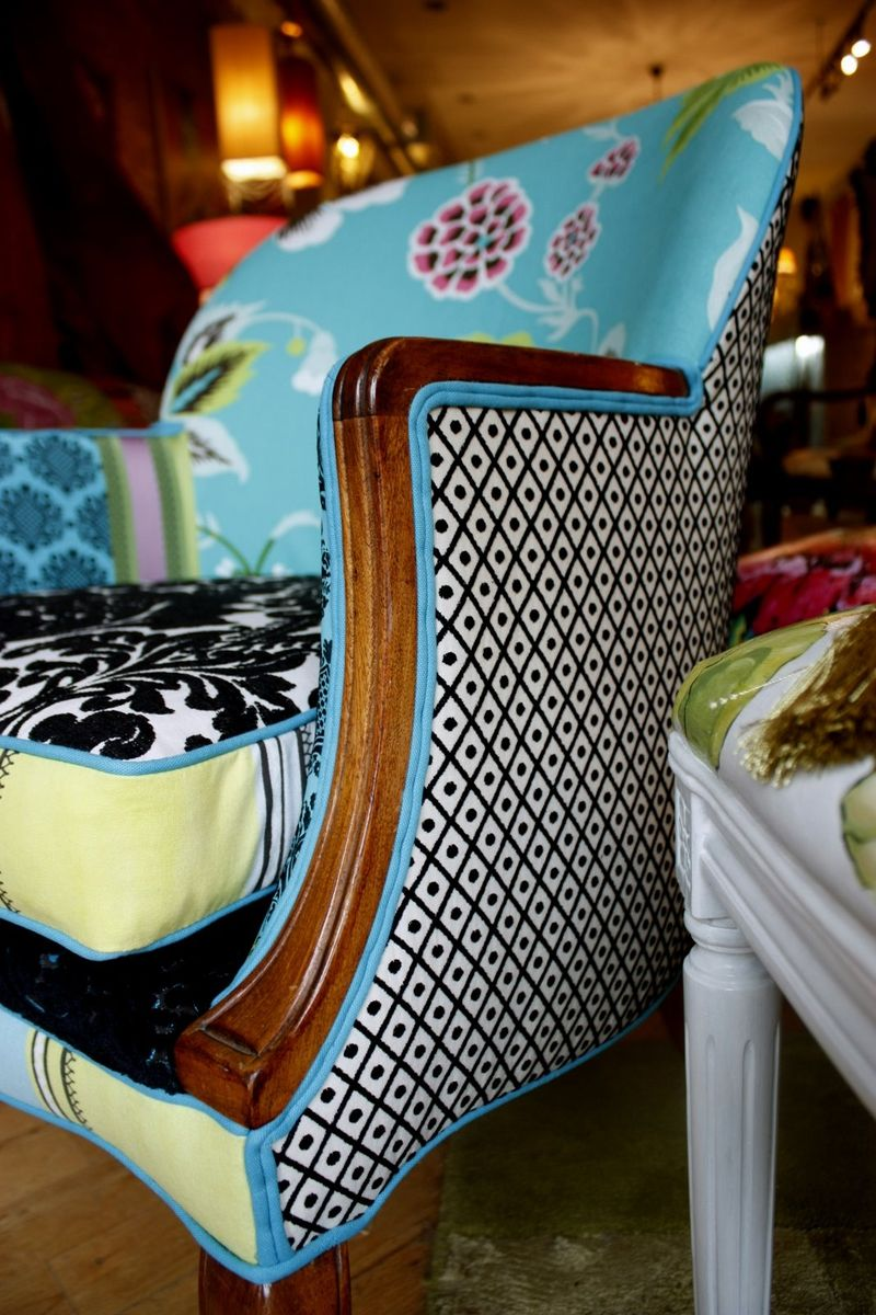 Hand Crafted Upholstered Chair Vintage Wood Show Arm Chair