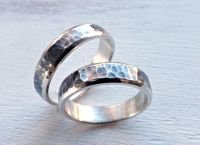 Buy a Handmade Rustic Wedding Ring Set Silver, Matching