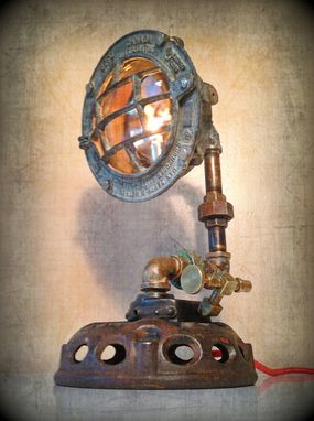 Custom Made Found Object Steampunk Sculpture Lamp By Retro Steam Works