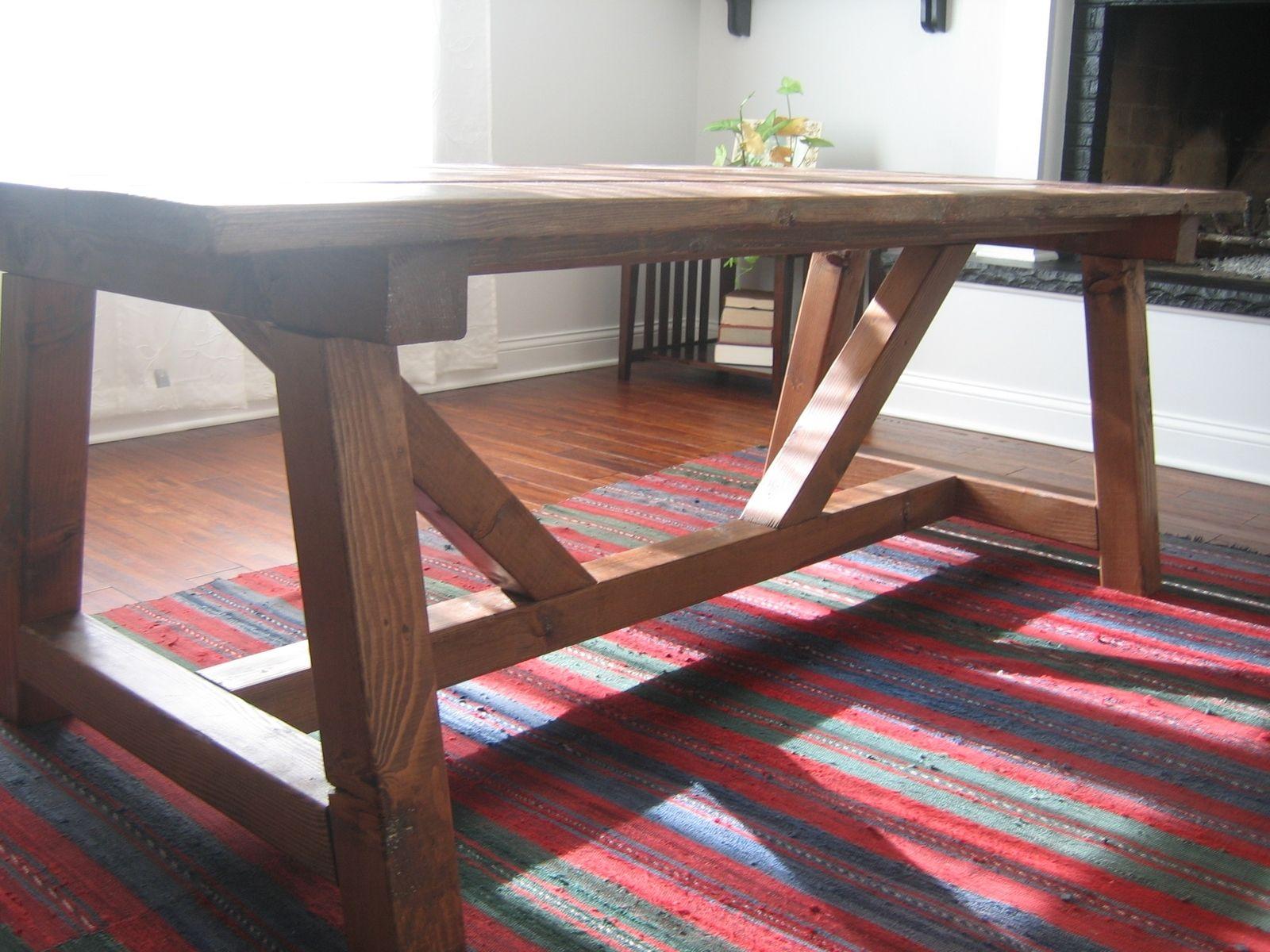 Hand Made Trestle Farmhouse Table Reclaimed Wood