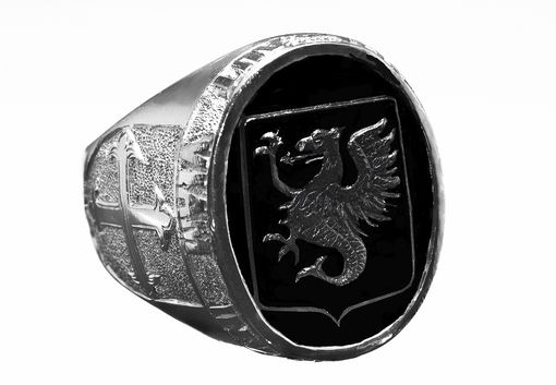 Custom Made Mens Engraved Black Onyx Crest Ring By The