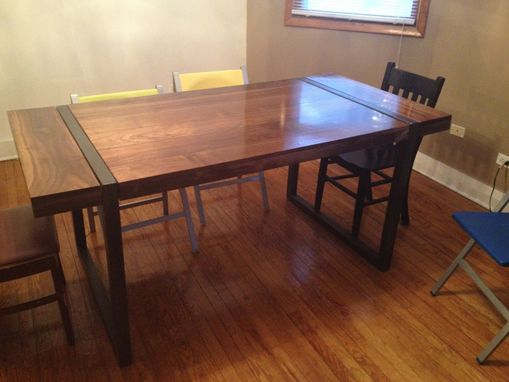 Hand Made Black Walnut Dining Table With Welded Steel Base