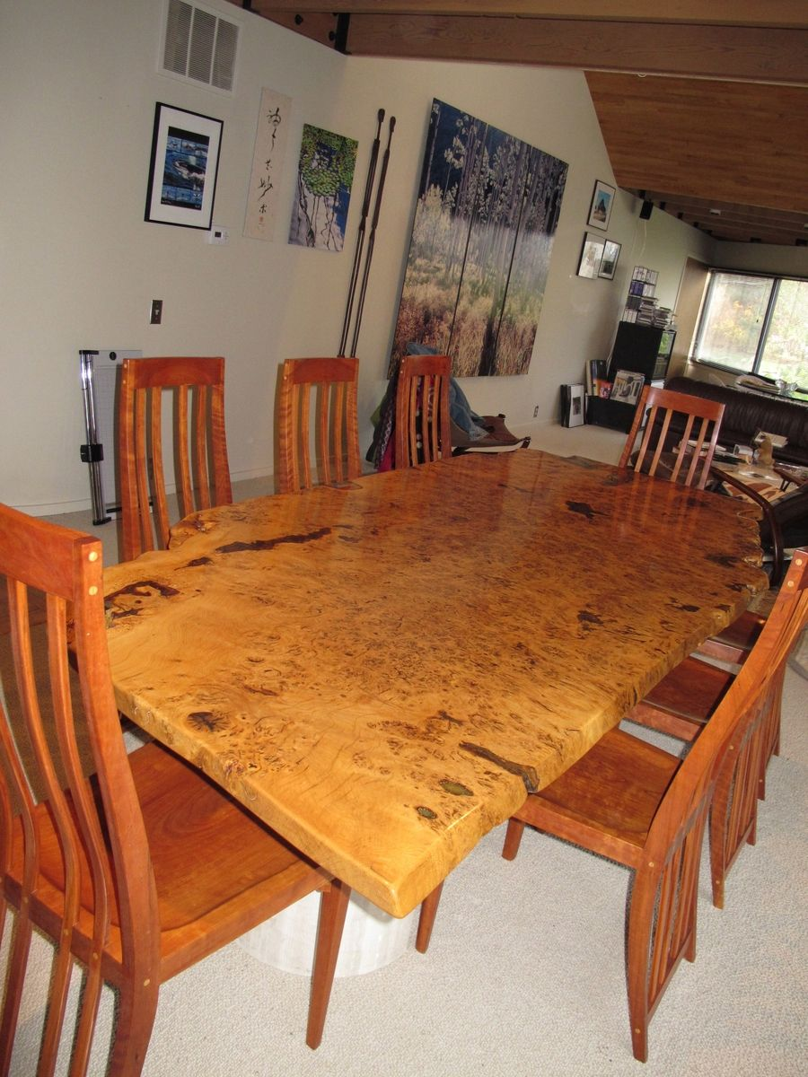 Handmade English White Oak Burl Dining Table By David Naso