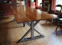Handmade Birch And Steel Trestle Dining Table by Higgins ...
