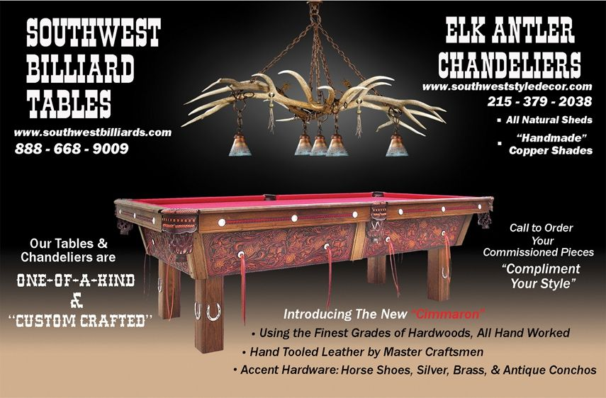 Hand Made Elk Antler Chandelier Above Pool Table by Southwest Style Decor  CustomMadecom