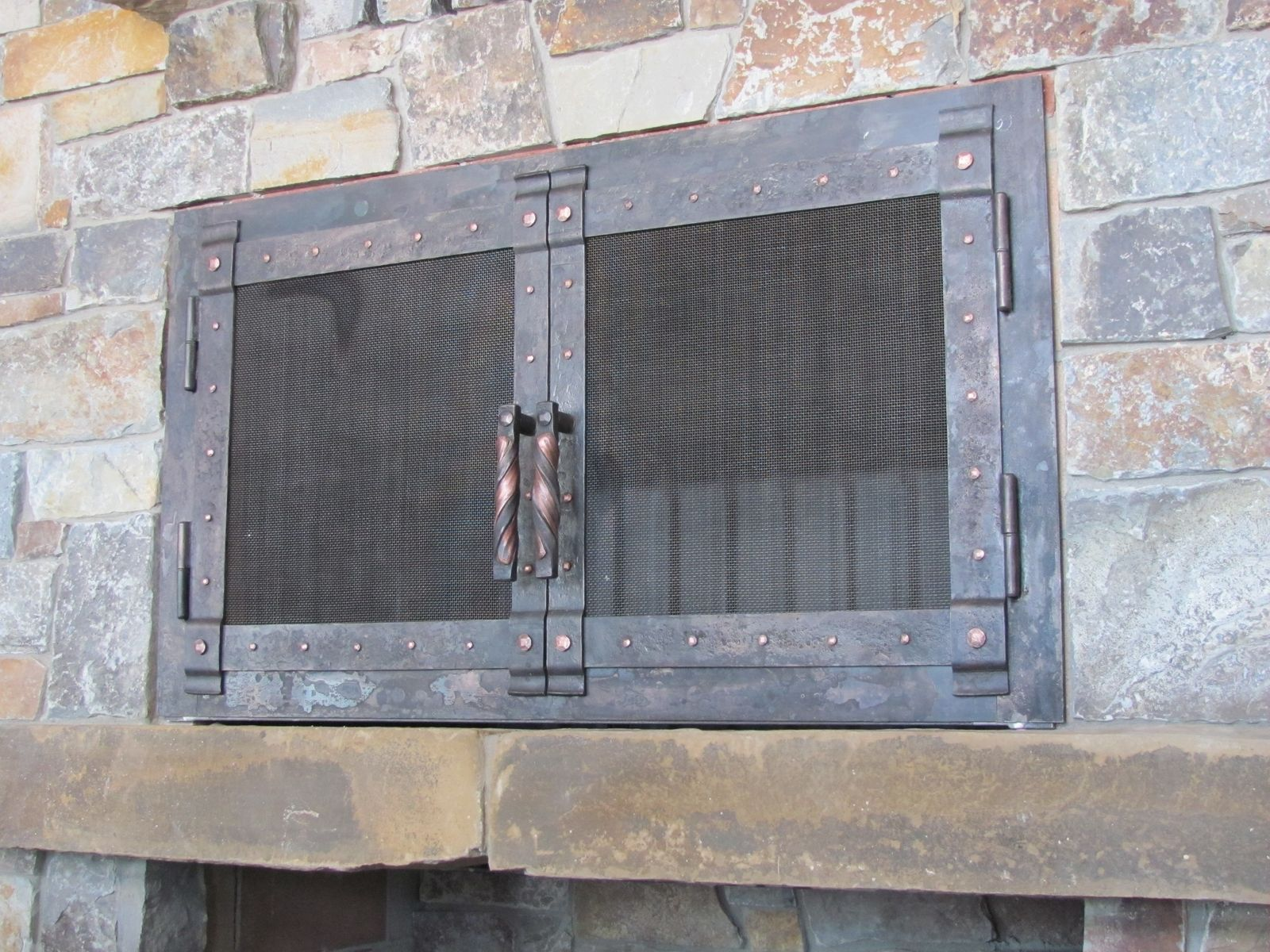 Hand Made Hand Forged Fire Place Doors And Screens By