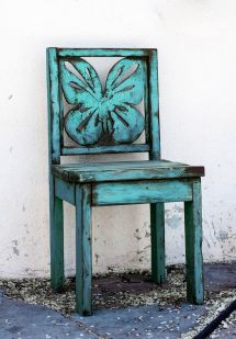 Hand Crafted Blue Butterfly Chair Indoor Outdoor Wooden