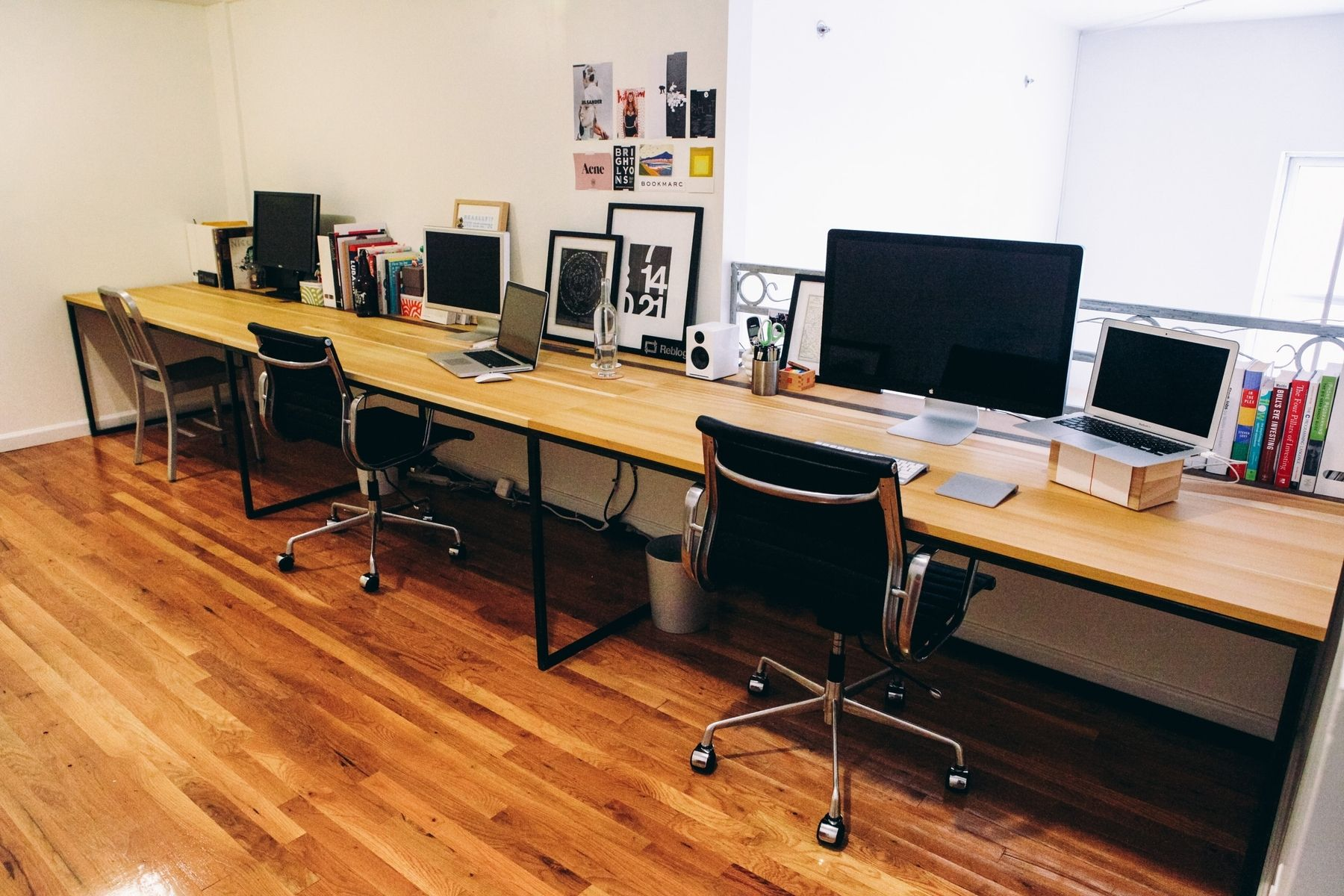 Hand Made Superdesk  17 Poplar Desk With Custom Iron Design by Left To Right Furniture