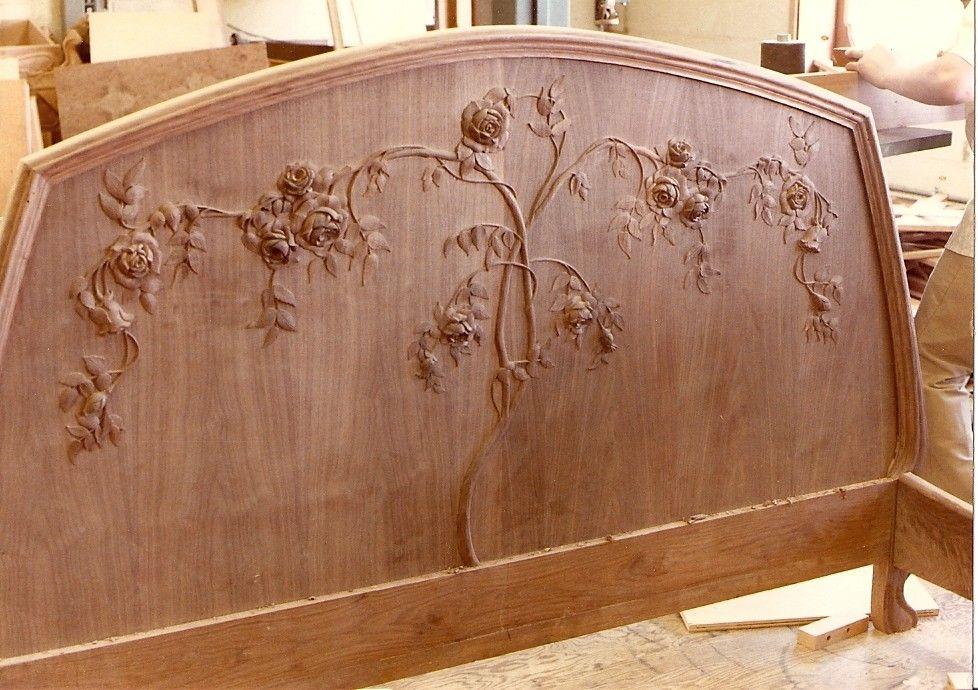 Custom Art Nouveau Mahogany Bed By Hercules Custom