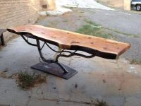 Hand Made Steel Tree Table Base With Juniper Slab Top by ...