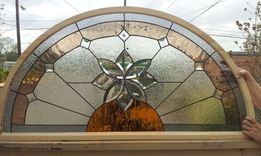Custom Stained Glass Arched Window  Beveled Flower Tw34 by Terraza Stained Glass