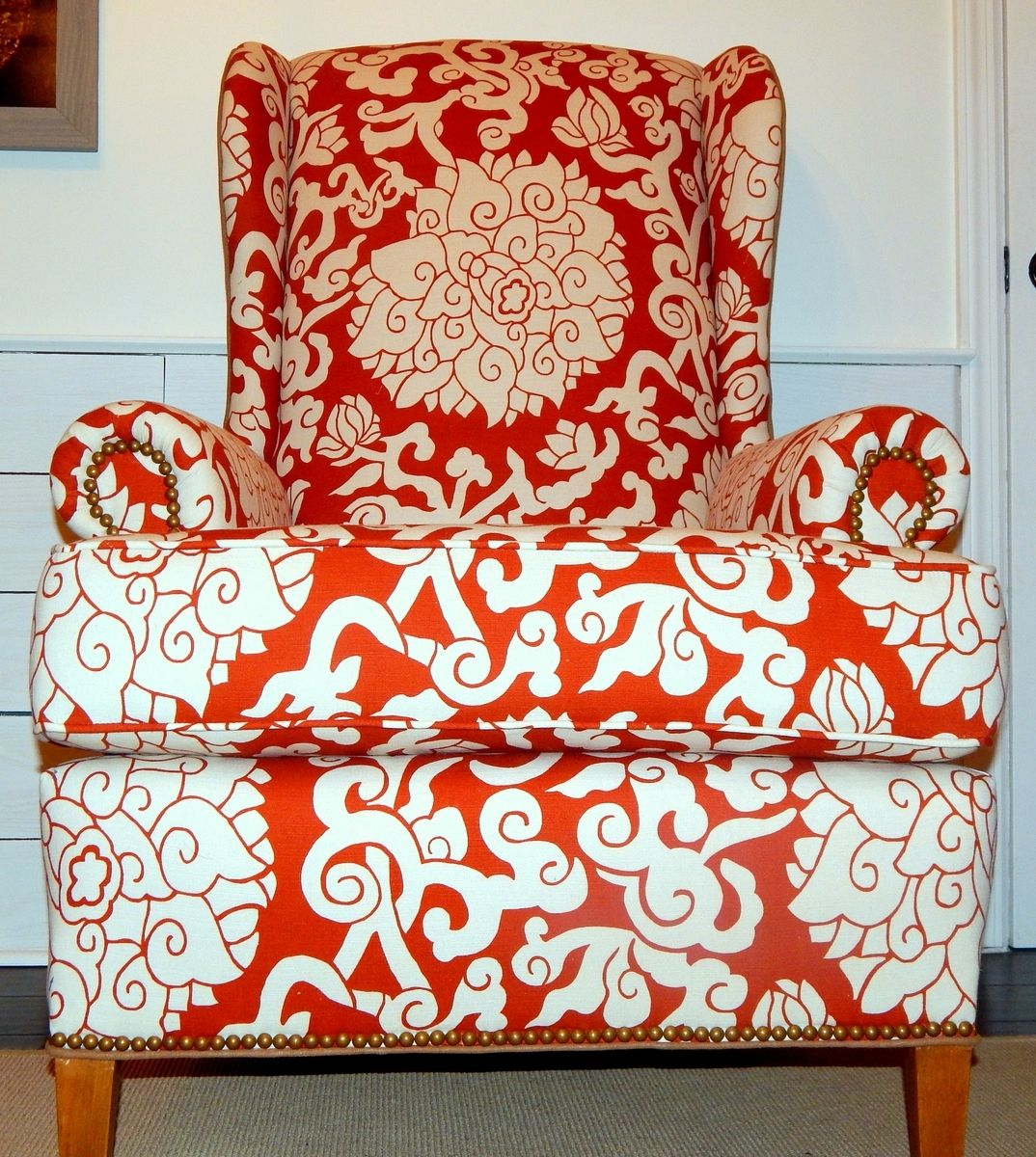 Orange Wingback Chair Handmade Orange Blossom Linen Wingback Chair By Samantha