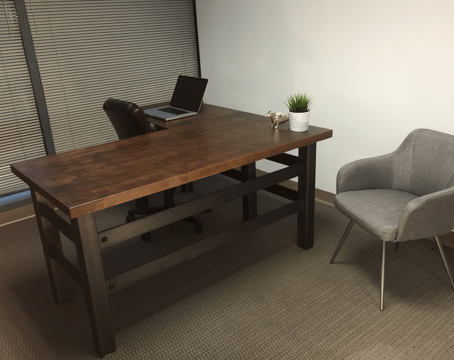Buy a Hand Crafted L Shape Brooklyn Industrial Office Desk