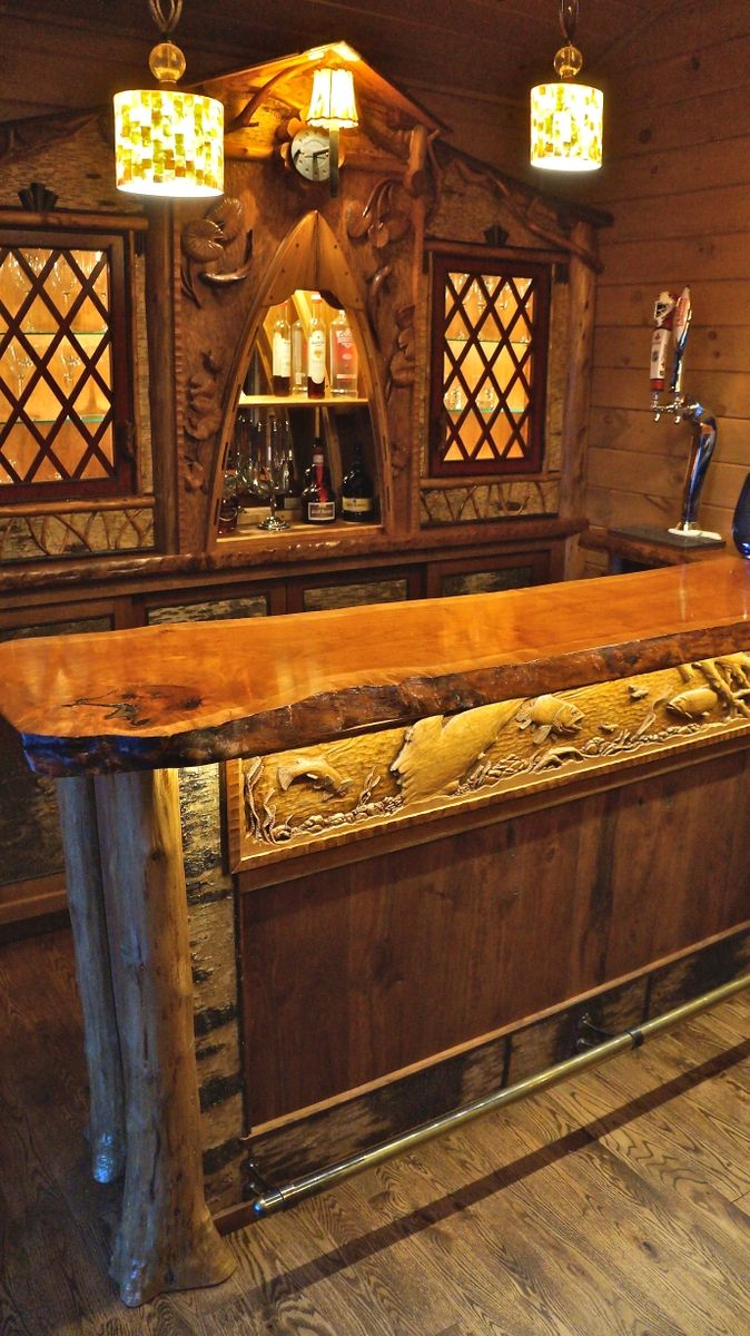 Custom Adirondack Rustic Home Bar by L Post Rustics