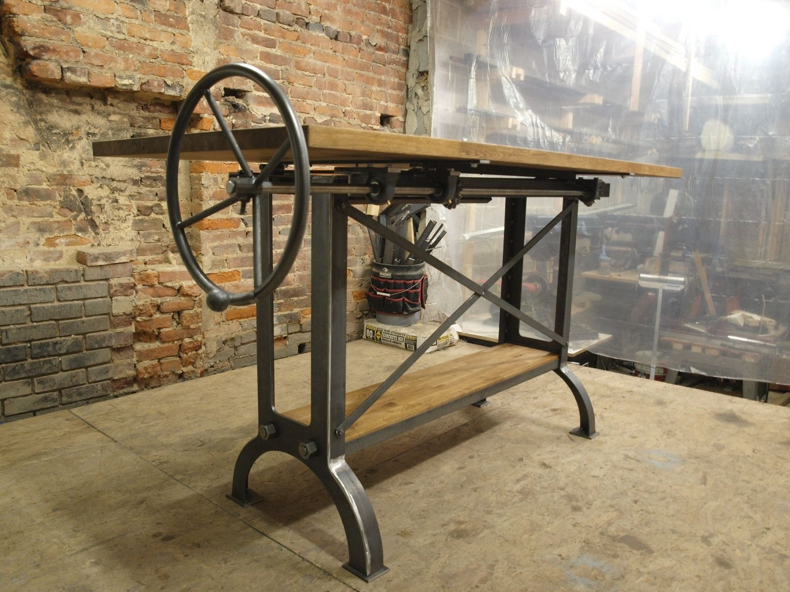 Custom Stand Up Industrial Drafting Table With Oak Top by