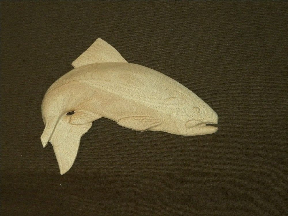 Custom 3d Relief Carved Trout by North Texas Wood Works