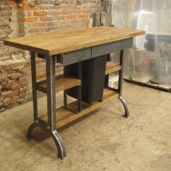 Industrial Kitchen Table Installing Flooring Hand Made Modern Island Console
