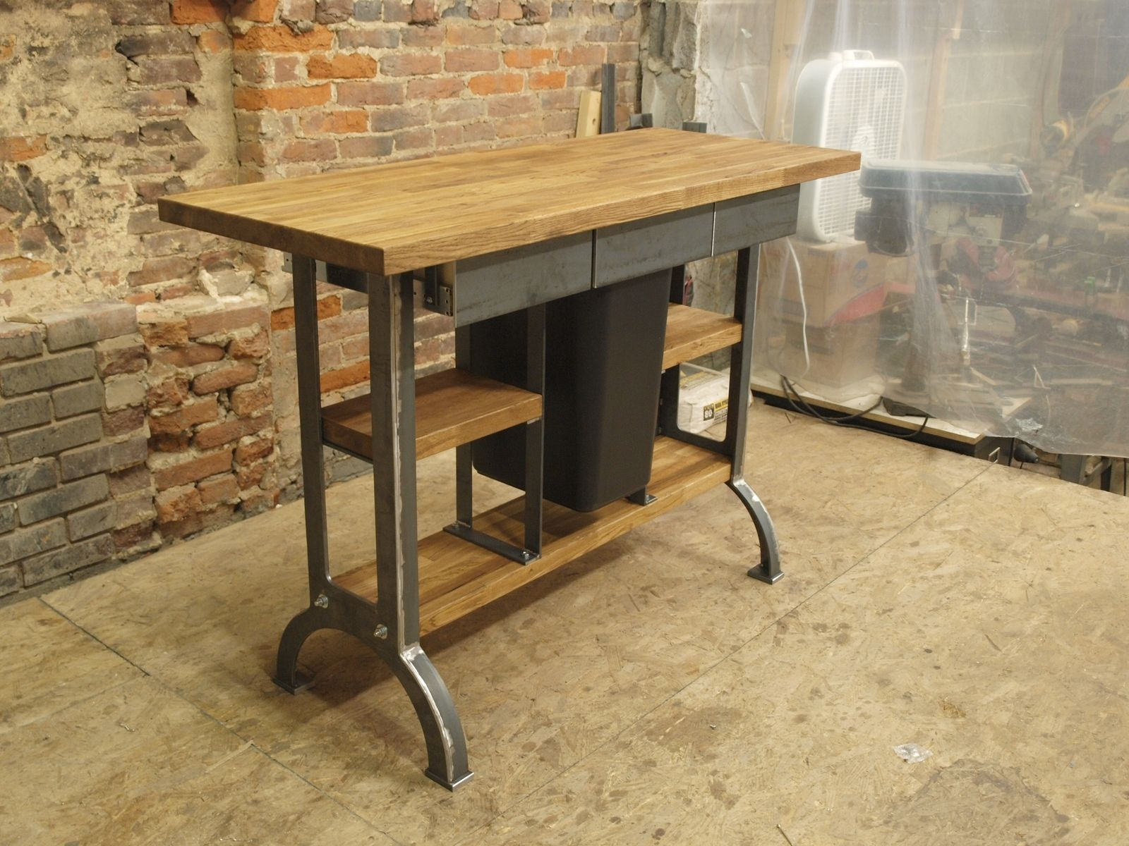 industrial kitchen island cost to paint cabinets hand made modern console table