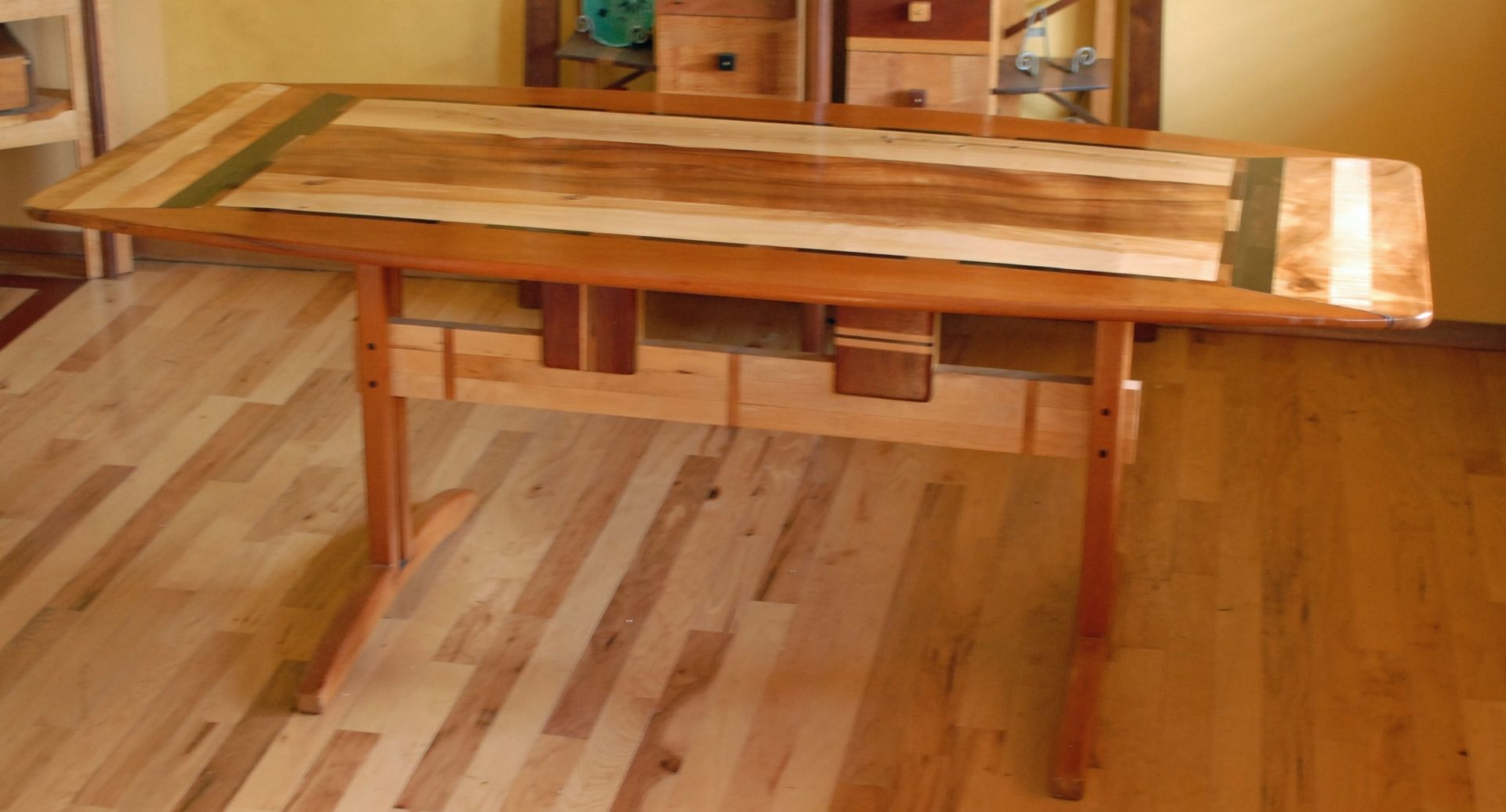 high chairs that attach to table dining chair seat covers diy custom made trestle room in koa and spanish cedar by allan parachini | custommade.com