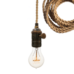 Hand Made Nautical Ship Rope Cloth Cord Bronze Bare Bulb Pendant Light By Hammers And Heels Custommade Com