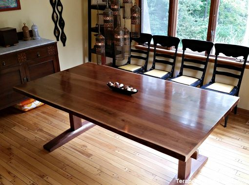 Custom Made Live-Edge Walnut Trestle Dining Table By