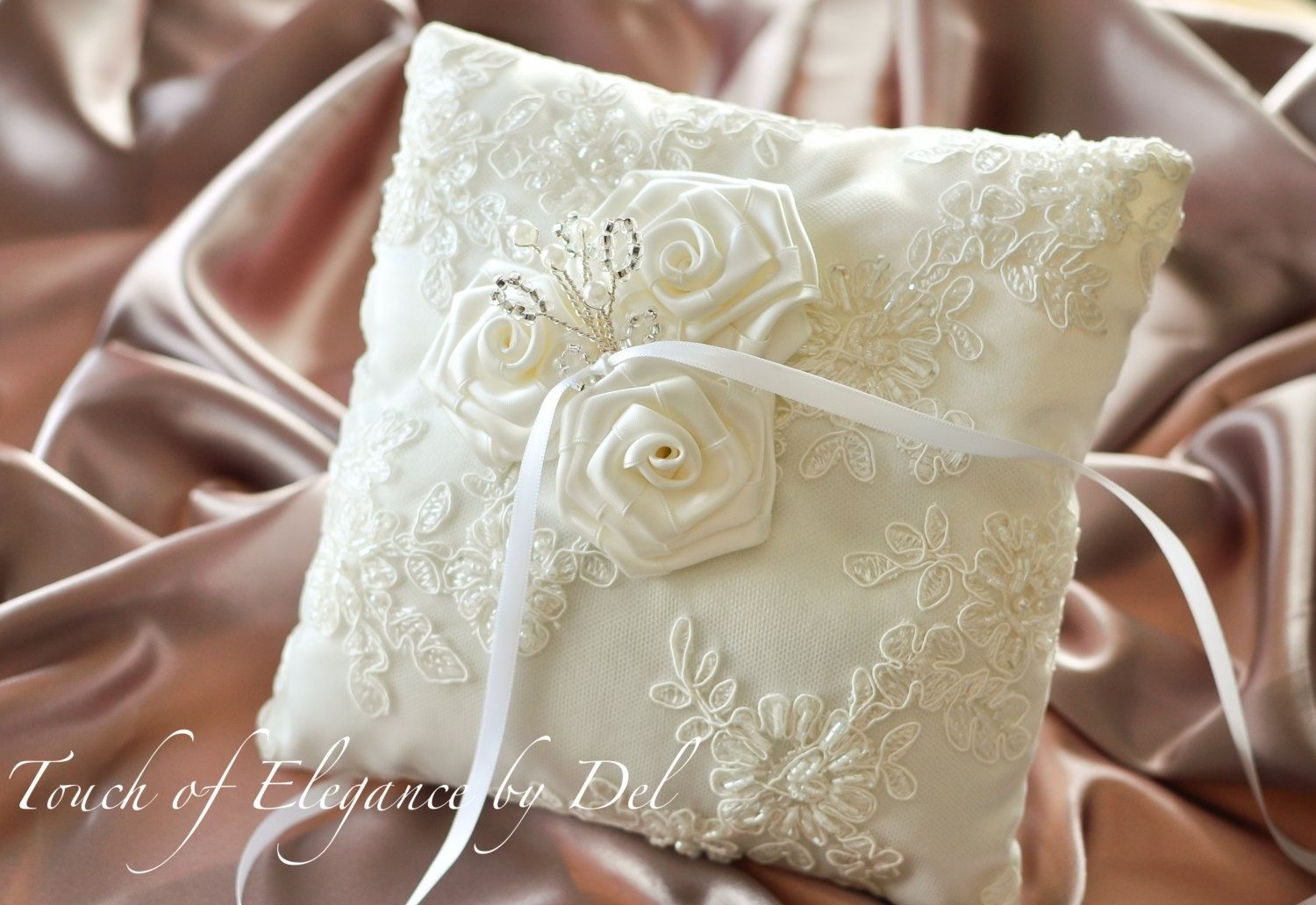Hand Crafted Ivory Ring Bearer Pillow  Wedding Pillow