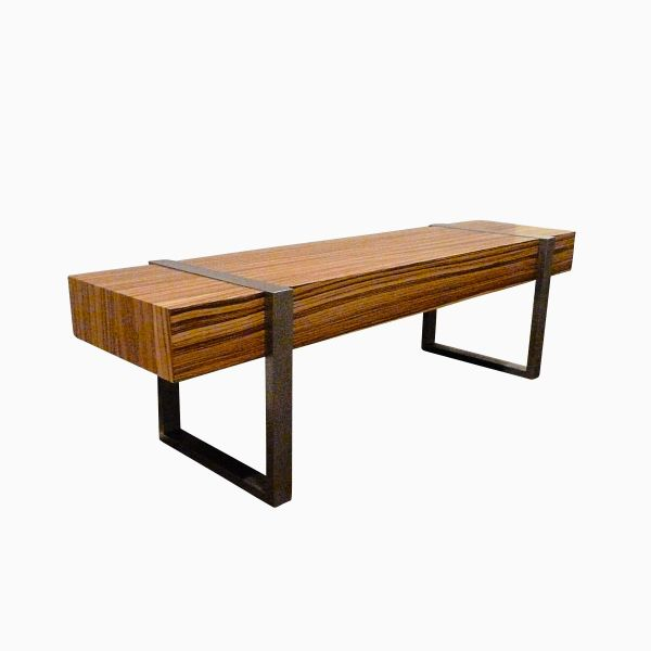 Hand Welded Modern Interior Zebra Wood Bench Seat
