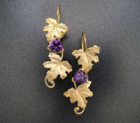 Custom 18k Gold Maple Leaf Earrings by Sculpted Jewelry