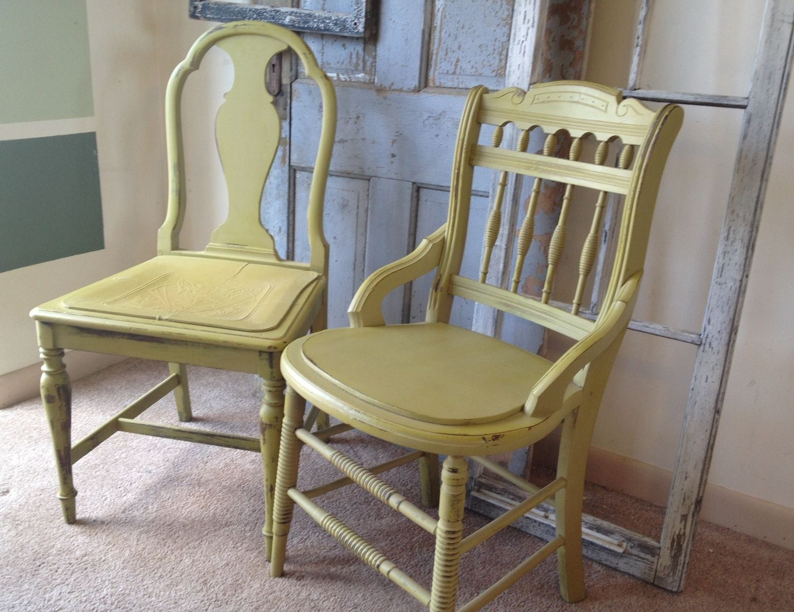 vintage kitchen chairs pull out cabinets hand crafted small table with four miss matched by hip decor distressed painted furniture custommade com