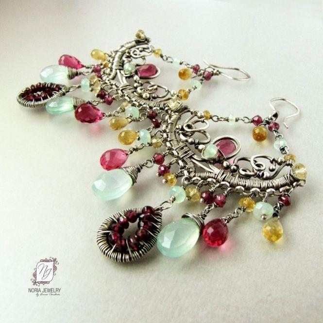 Custom Made Sterling Silver Chandelier Earrings Pink Quartz Sea Foam Green Chalcedony Garnets