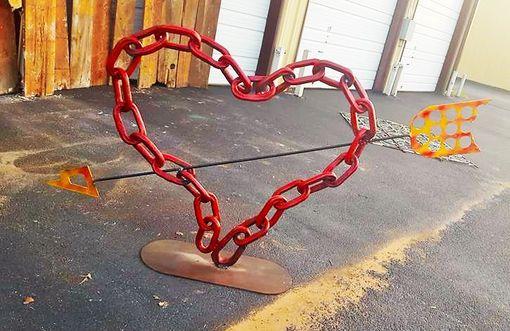 Hand Made Metal Red Heart Sculpture Art Artwork