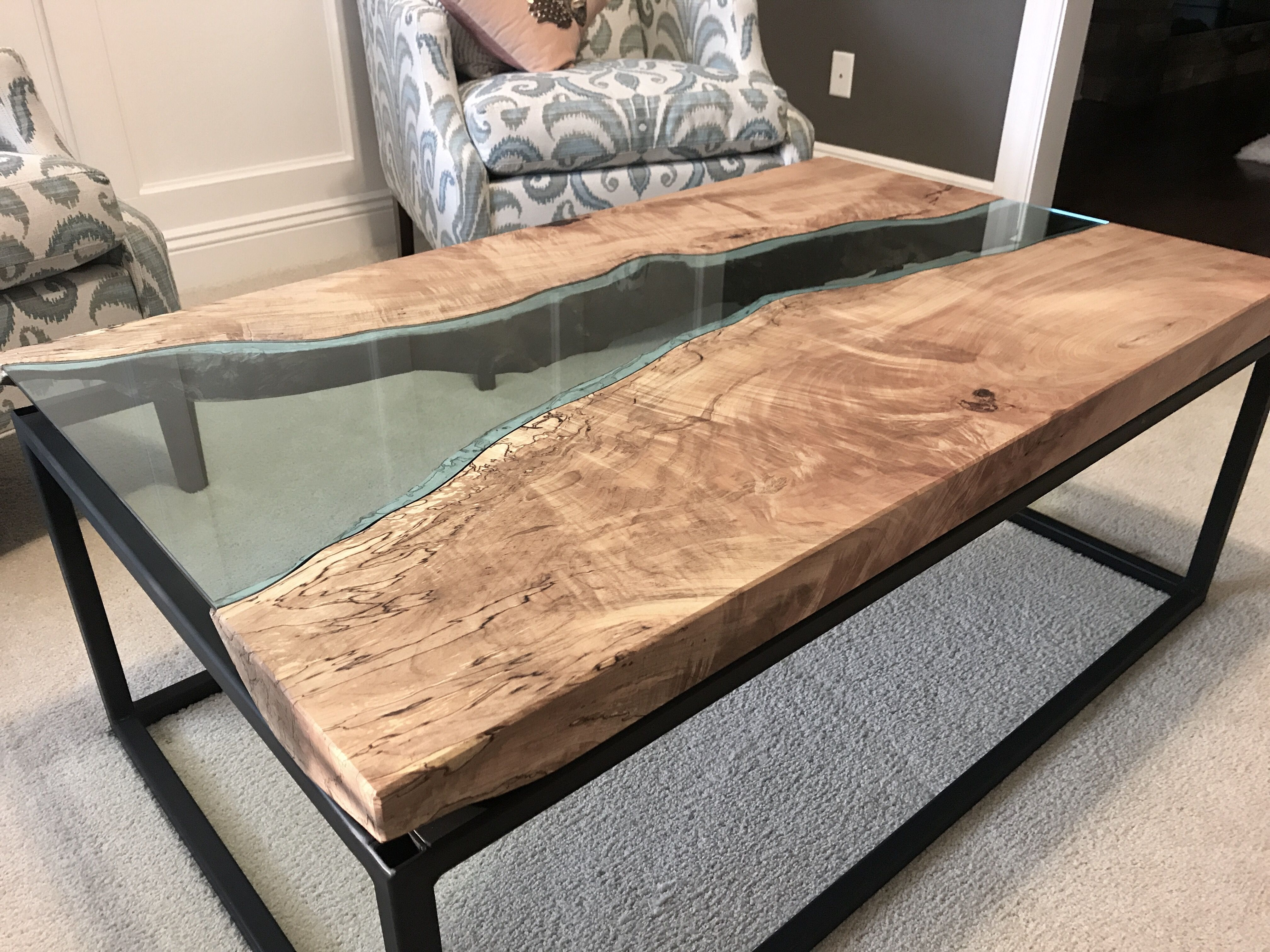 Hand Crafted Maple River Glass Coffee Table With Black Powder Coated Steel Base By Villella Custom Woodworking Custommade Com