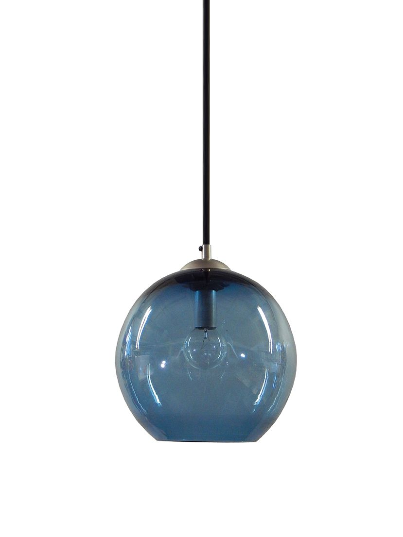 Buy a Custom Steel Blue Gumball Hand Blown Glass Pendant