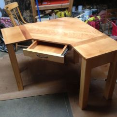 Desk Chair Made Dining Stainless Steel Legs Hand Crafted Custom Corner By Black Swamp Furnishings