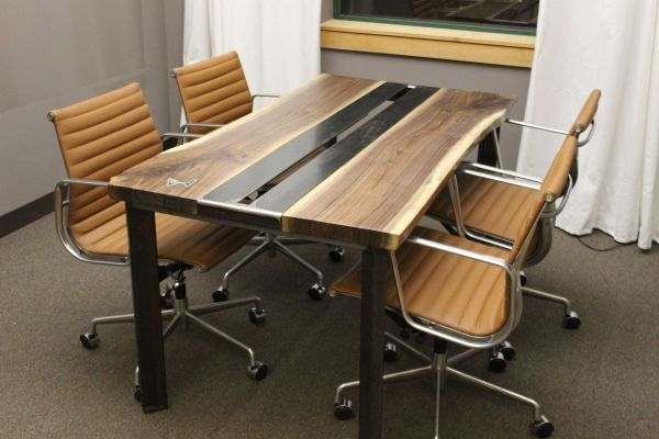 Hand Live Edge Walnut Conference Table Modern