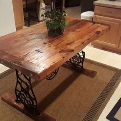 Sears Kitchen Tables New Countertops Hand Crafted Barn Wood Dining Table With Singer Base By ...