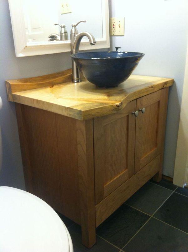 Custom Cherry Bathroom Vanity With Live-edge Pine