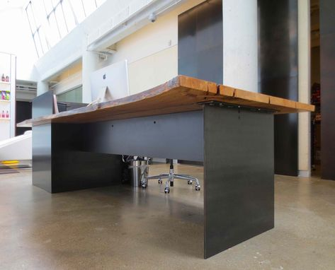Hand Made Metal Modern Industrial Plate Steel Reception Desk With Maple Live Edge Slab Top