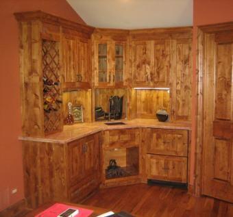Handmade Knotty Alder Kitchen Cabinets  Solid Wood
