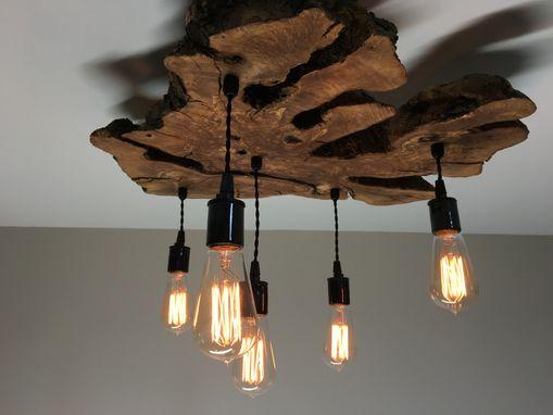 Custom Made Medium LiveEdge Olive Wood Chandelier Rustic